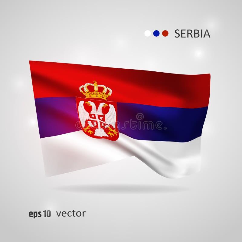 Vektorflagga av Serbien royaltyfri illustrationer