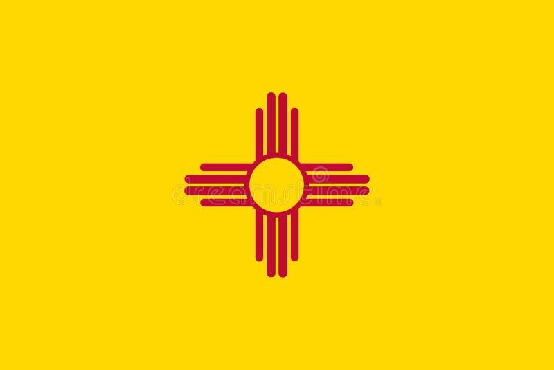 Vektorflaggaillustration av nytt - Mexiko stat, Förenta staterna av A vektor illustrationer