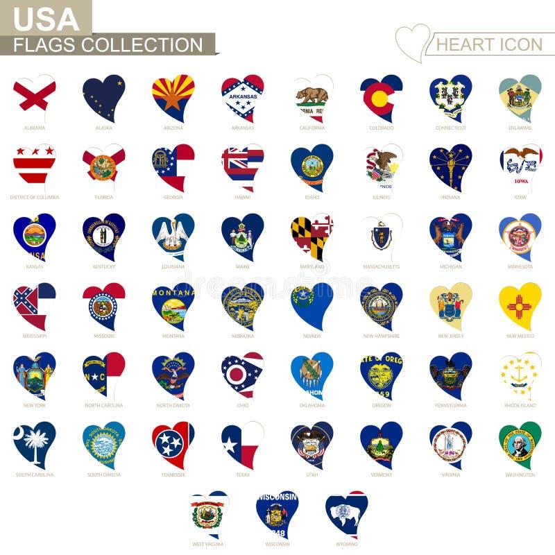 Vektorflaggasamling av USA tillstånd Hjärtasymbolsuppsättning royaltyfri illustrationer