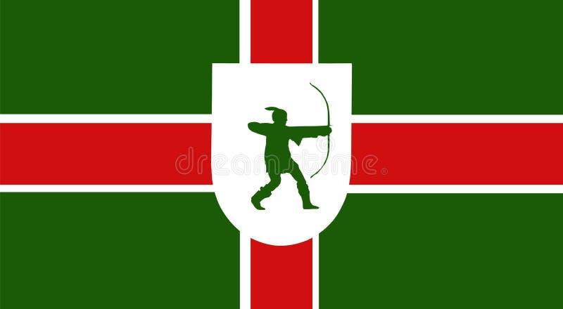 Vektorflagge von Nottinghamshire-Grafschaft, England Vereinigtes Königreich lizenzfreie abbildung