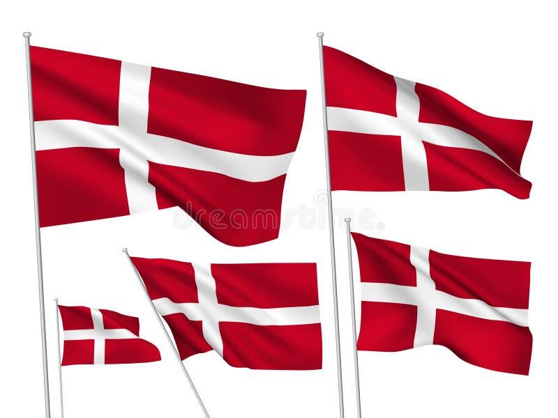 Vektorflaggor av Danmark stock illustrationer