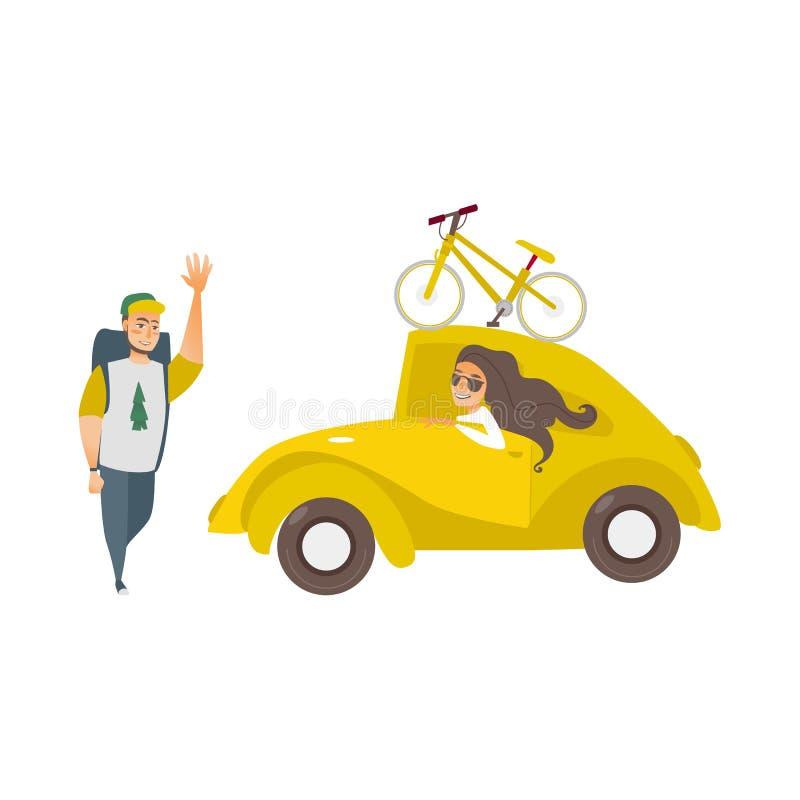 Vektorflicka i bilen, vinkande hand för manfotvandrare stock illustrationer