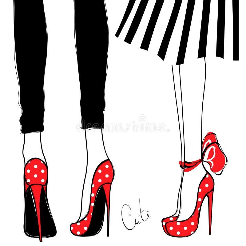 Vektorflickor i höga häl Text och teckning av flickan Kvinnligben i skor Gullig design Moderiktig bild i modestil royaltyfri illustrationer
