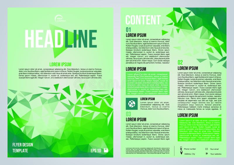 Vektorflieger, Firmenkundengeschäft, Jahresbericht, Broschürenentwurf und Abdeckungsdarstellung mit grünem niedrigem Polydreieck vektor abbildung