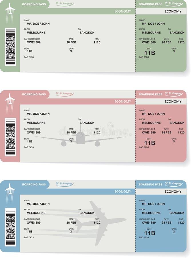 Vektorfluglinienpassagier-Bordkartekarten stock abbildung