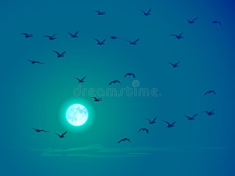 Vektorflugwesenvögel gegen Lattenmond. stock abbildung