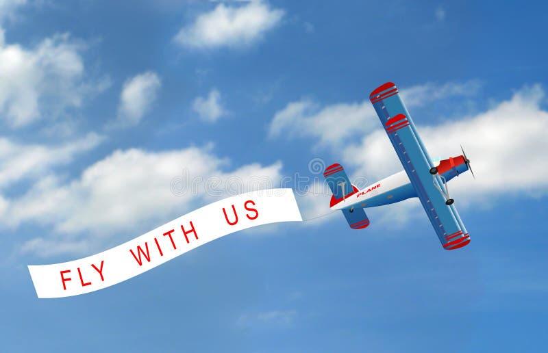Vektorflugzeug mit Fahne vektor abbildung