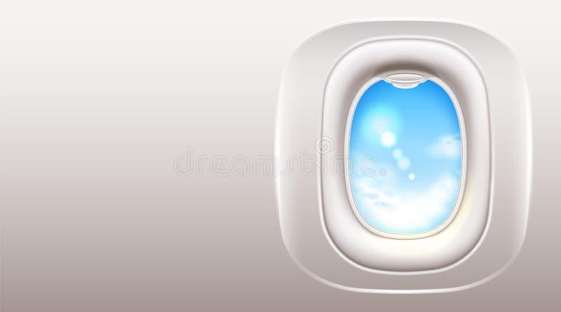 Vektorflugzeugfensteröffnungsreise und -tourismus vektor abbildung