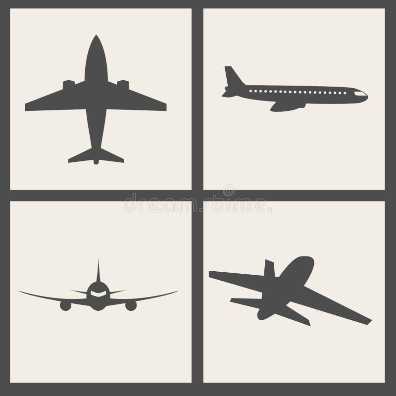 Vektorflugzeugikonen lizenzfreie abbildung