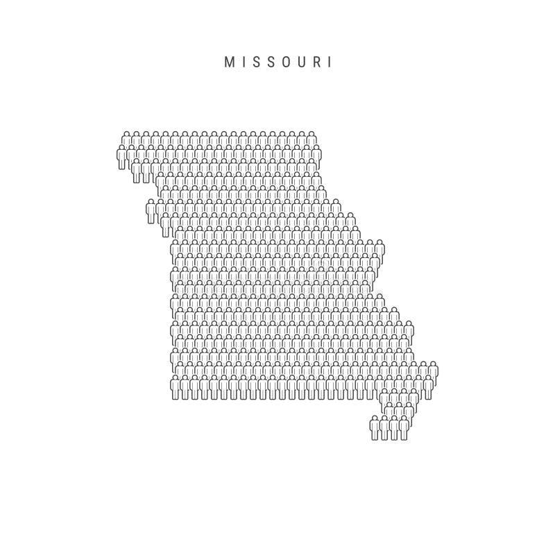 Vektorfolket kartlägger av den Missouri, USA staten Den stiliserade konturn, folk tränger ihop Missouri befolkning stock illustrationer