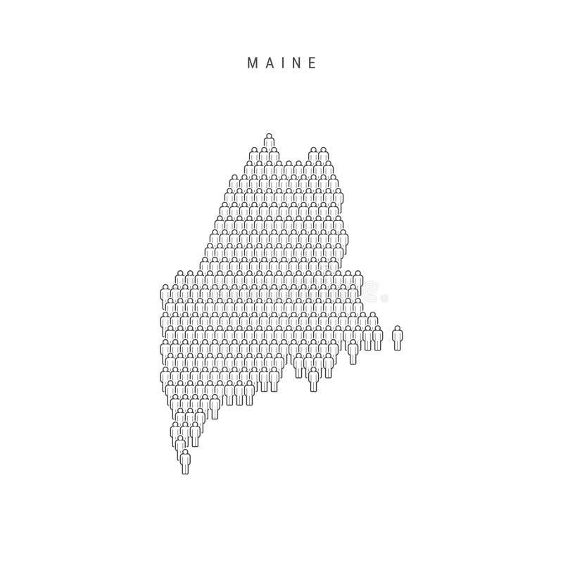 Vektorfolket kartlägger av Maine, USA-stat Den stiliserade konturn, folk tränger ihop Maine Population stock illustrationer