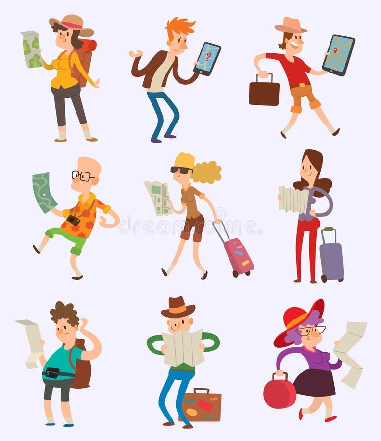 Vektorfolkturist med översiktshandelsresande som söker rätt riktningvägen Resande touristic riutsökande för man och för kvinna vektor illustrationer
