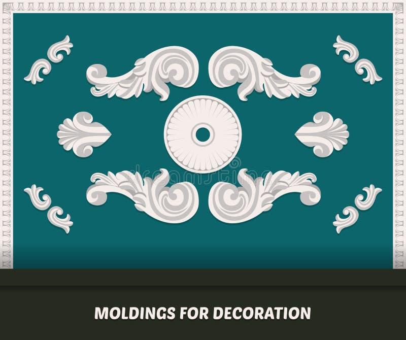 Download Vektorformteilelemente Für Dekoration Klassisches Formteil Auf  Blauer Wand Luxuswandgestaltung Mit Formteilen Dekorative Bänder U Vektor
