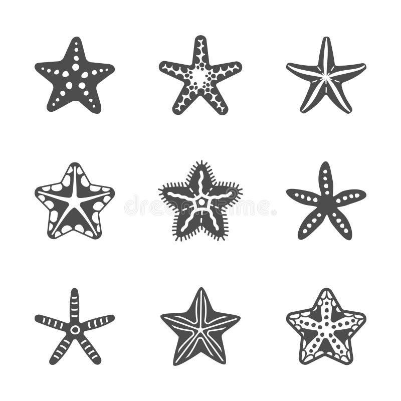 Vektorformuppsättning av den olika havssjöstjärnan stock illustrationer