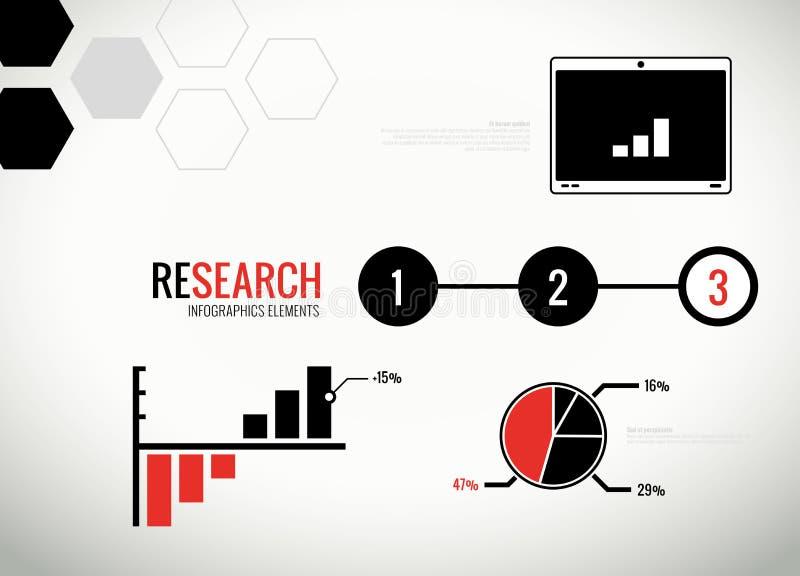 Vektorforskningstatistik och infographicsbeståndsdelar stock illustrationer
