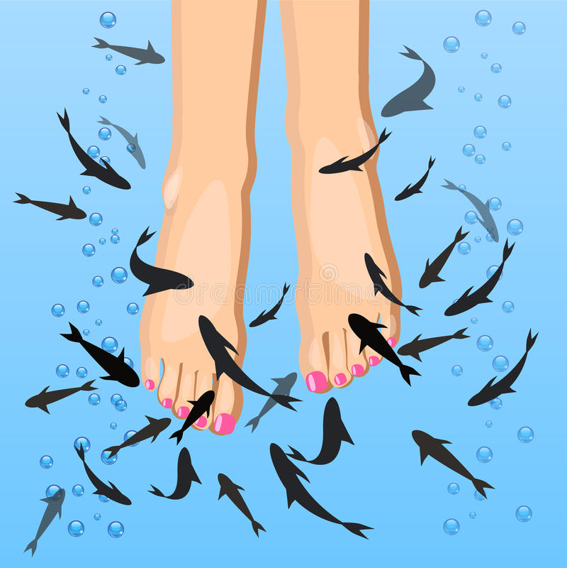 Vektorfot som skalar förbi fisken, pedikyrtillvägagångssätt i plan stil stock illustrationer