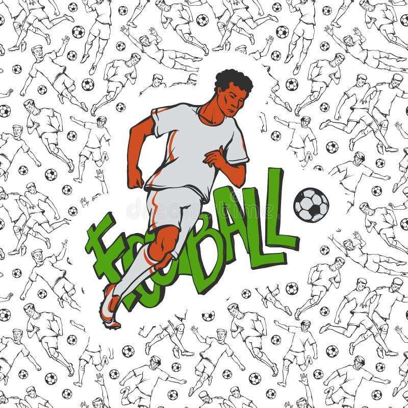 Vektorfotbollfotboll i sportlikformigkörning med bollen Tappningidrottsmanrörelse på bakgrund av inskriften och svart royaltyfri illustrationer