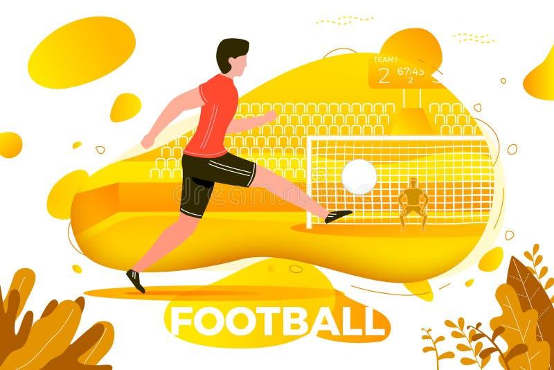Vektorfotbollsspelare Målvakt och stadion vektor illustrationer