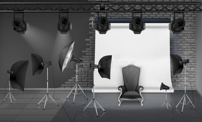 Vektorfoto-Studioinnenraum mit leerem Lehnsessel lizenzfreie abbildung