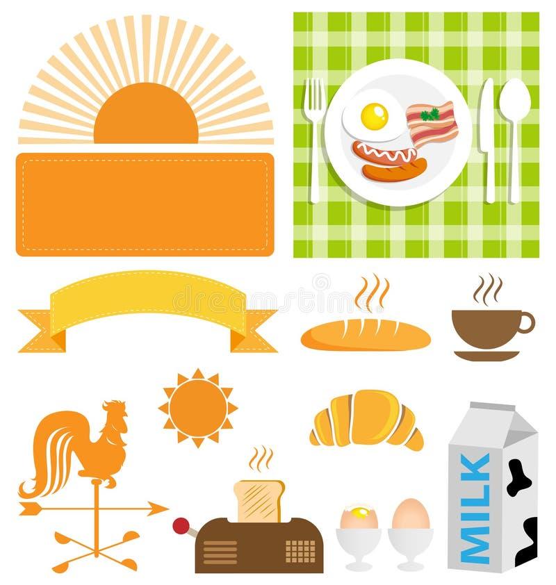 Vektorfrühstücks-Ikonensatz vektor abbildung