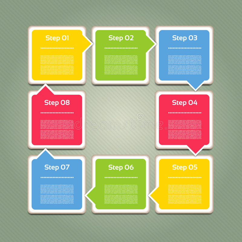 Vektorframstegbakgrund/produktval eller version vektor illustrationer