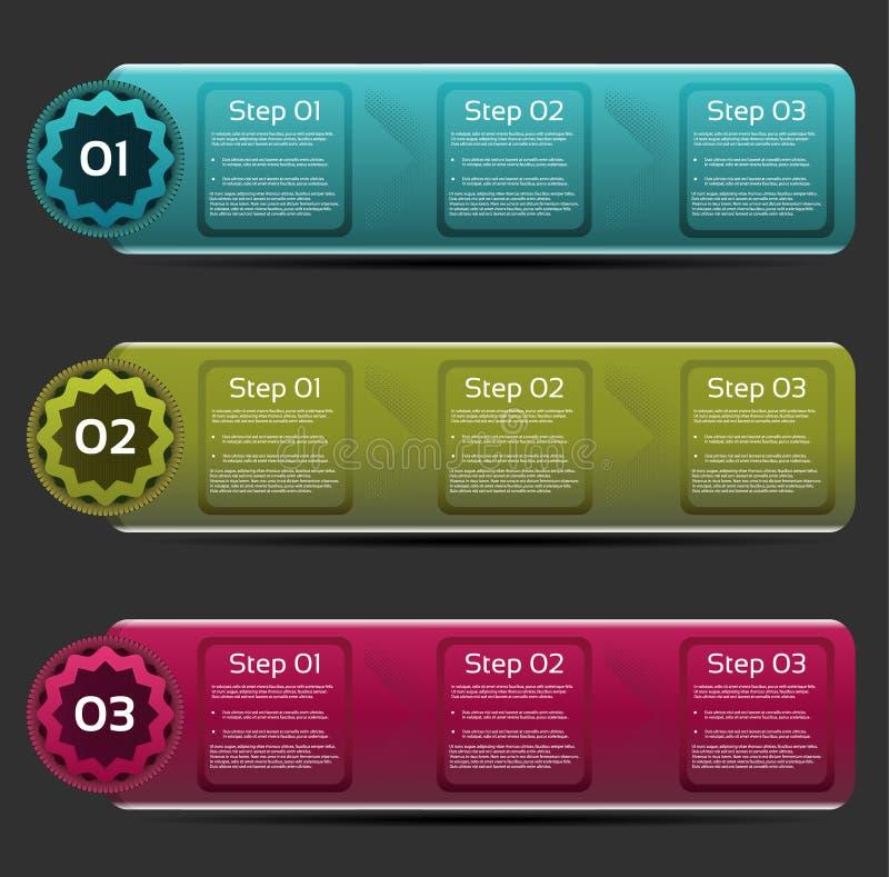 Vektorframstegbakgrund/produktval eller version. vektor illustrationer