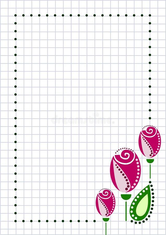 Vektorfreier raum für Buchstabe- oder Grußkarte Kariertes Papier, weiße quadratische Form mit rosa Rosen, vektor abbildung
