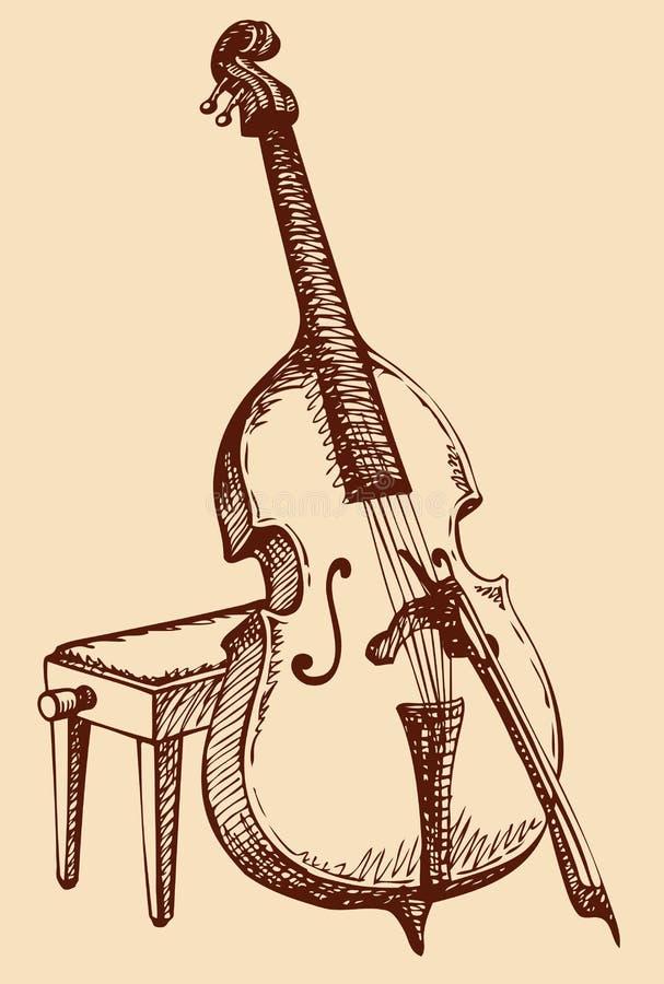 Vektorfreihandzeichnenzeichnung Kontrabass mit einem Bogen lizenzfreie abbildung