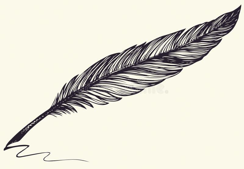 Vektorfrihandsteckning av den mörka fågelfjädern royaltyfri illustrationer