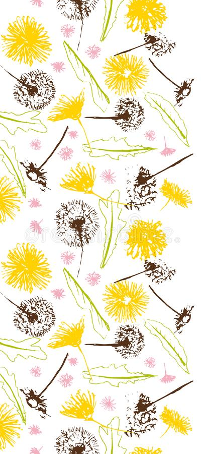 Vektorfrische Retro- Blumenlöwenzahn Blowballs und nahtlose Grenze der Gänseblümchen lizenzfreie abbildung