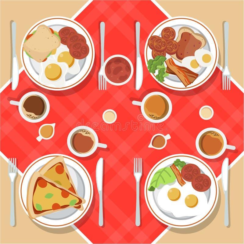 Vektorfrukostbegreppet st?llde in med mat och drinkar med plana symboler Frukostsammans?ttningssm?rg?s och omelett, juc royaltyfri illustrationer