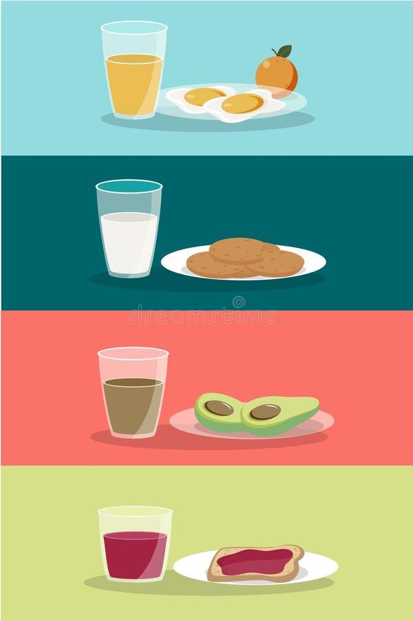 Vektorfrukostbegreppet st?llde in med mat och drinkar med plana symboler i sammans?ttning Frukostsammans?ttningssm?rg?s och omele royaltyfri illustrationer