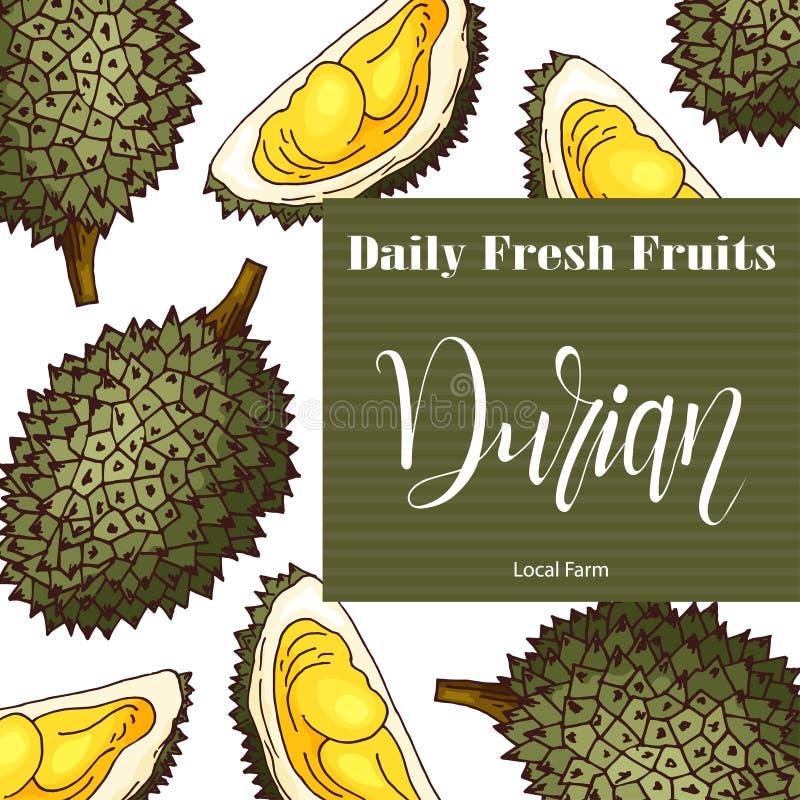Vektorfruktbeståndsdel av durianen Hand dragen symbol med bokstäver Matillustration för kafét, marknad, menydesign royaltyfri illustrationer