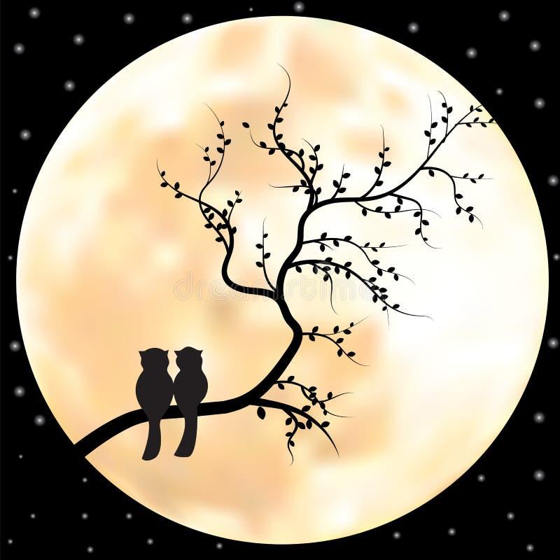 Vektorfullmåneillustration med stjärnor och träd royaltyfri illustrationer