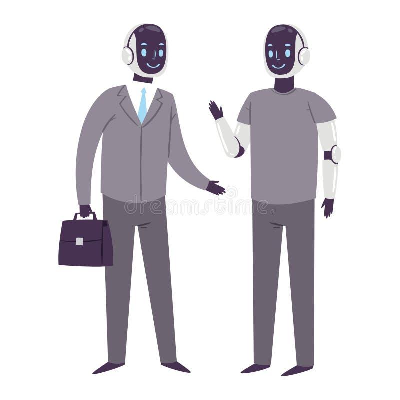 Vektorfuturistische Roboterzeichentrickfilm-figuren des Roboters humanoid Geschäftsleute kybernetische Cyberleben-Technologie lizenzfreie abbildung