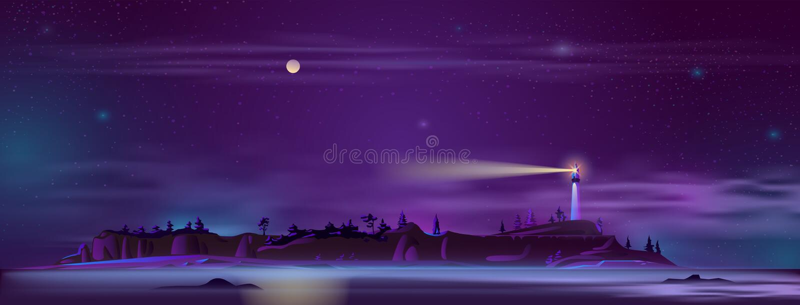 Vektorfyr på natten på kullen stock illustrationer