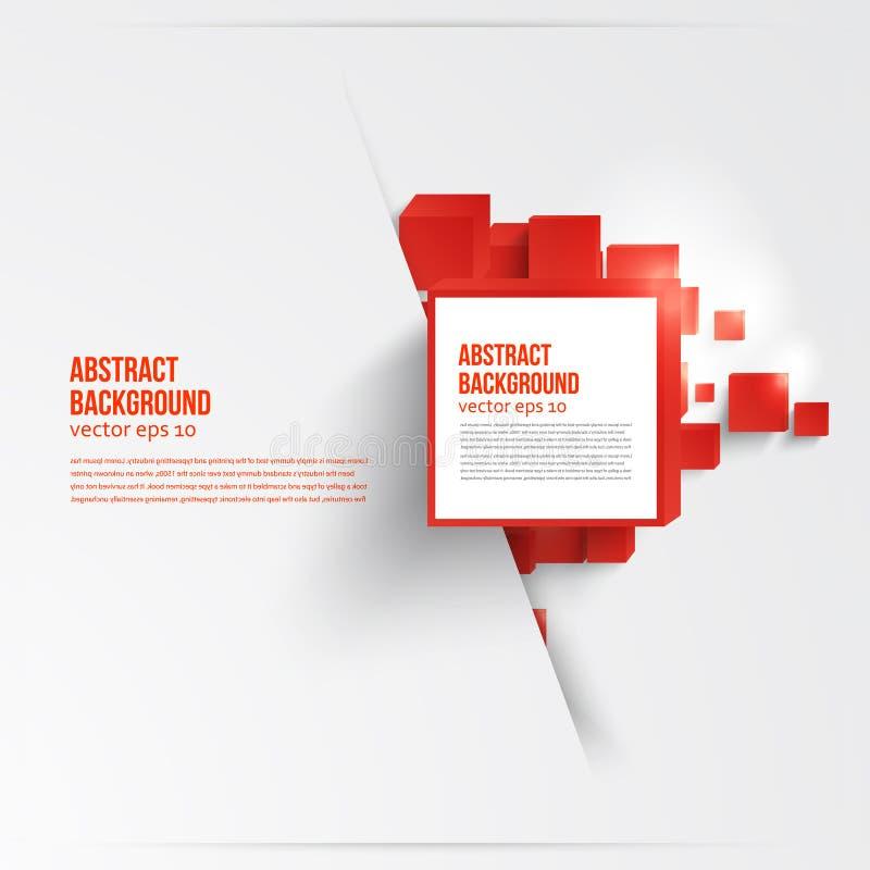 Vektorfyrkant. Abstrakt rött bakgrundskort. royaltyfri illustrationer