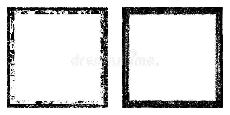 Vektorfyrkant, svart ram med beståndsdelnödläge, smutstextur Grungeeffekt Gränsuppsättning vektor illustrationer
