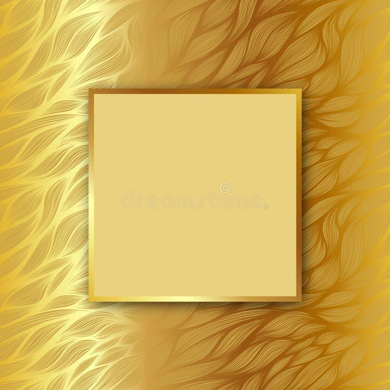 Vektorfyrkantram med skugga på bladmodell på guld- bakgrund royaltyfri illustrationer