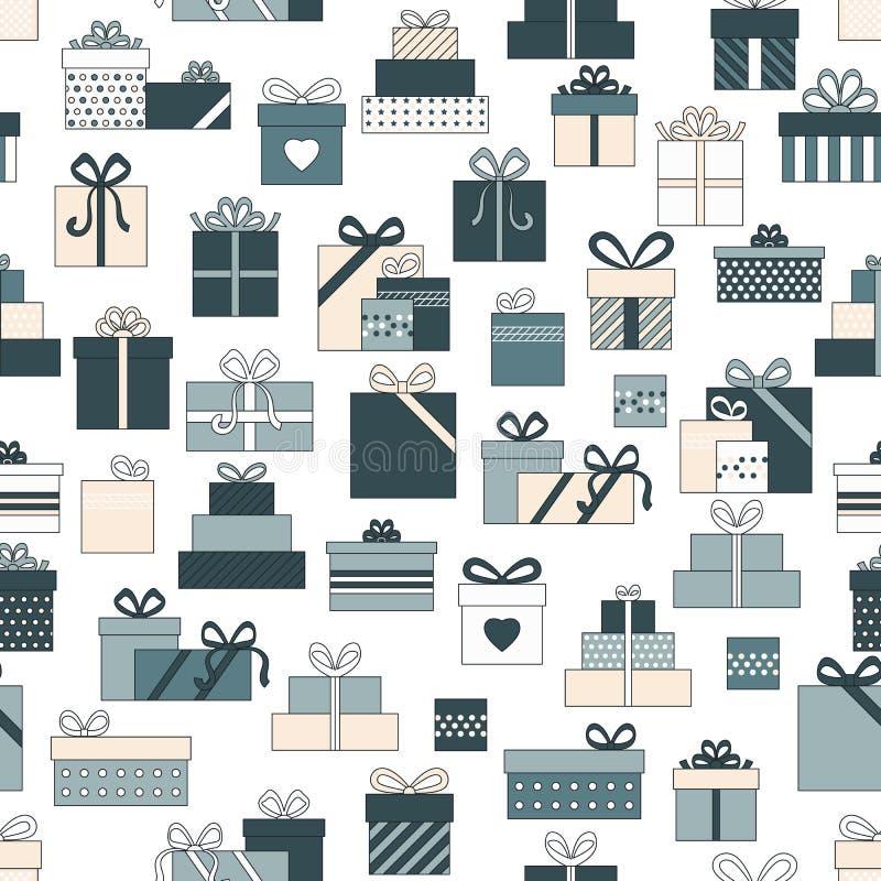 Vektorgåva och sömlös modell för gåvasymboler royaltyfri illustrationer