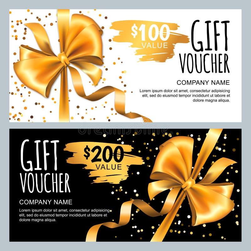 Vektorgåvakort eller kupongmall med det guld- pilbågebandet Lyxig design för vip-gåvakupongen, certifikat, reklamblad, baner stock illustrationer