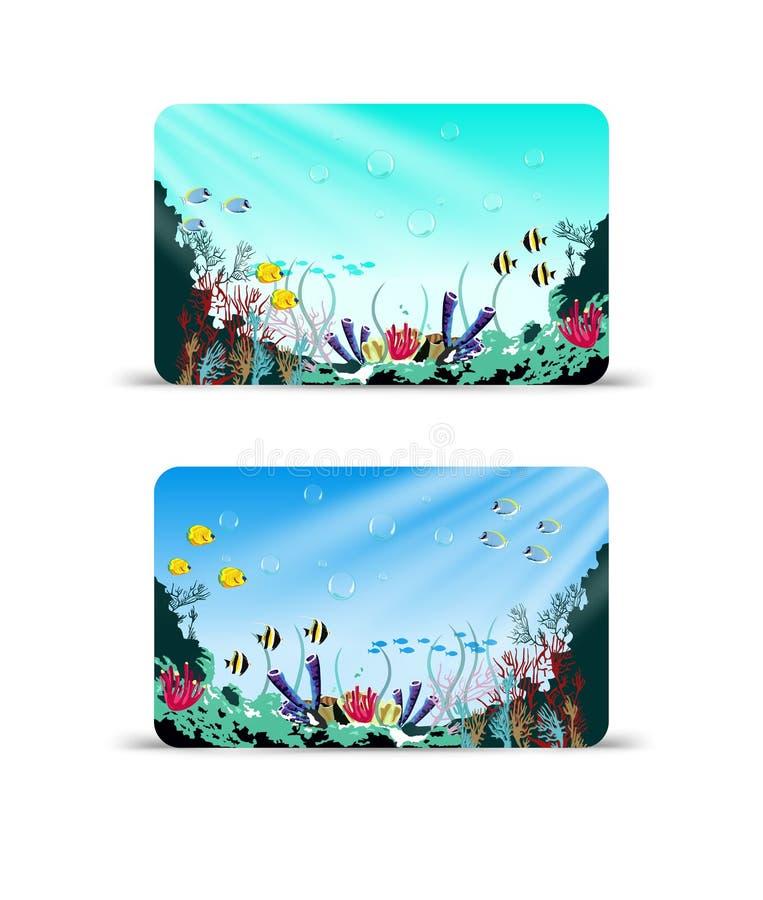 Vektorgåvakort med korallreven och olik art av fisken royaltyfri illustrationer