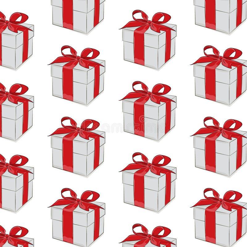 Vektorgåvamodell Rött band med pilbågen på grå färggåva Årsdagtrycktextur för födelsedagen, valentin, kvinnadag stock illustrationer