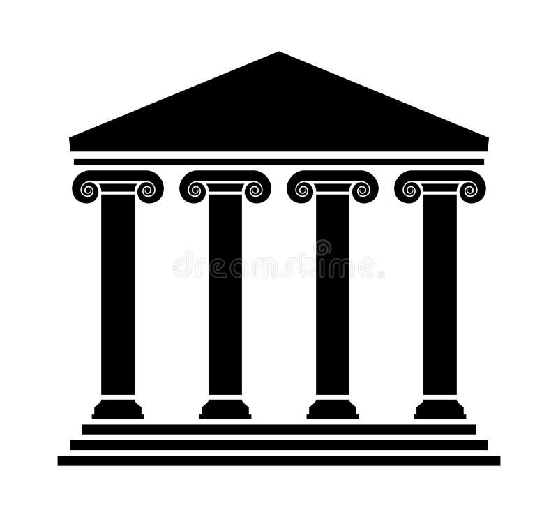 Vektorgammalgrekiskaarkitektur med kolonner stock illustrationer