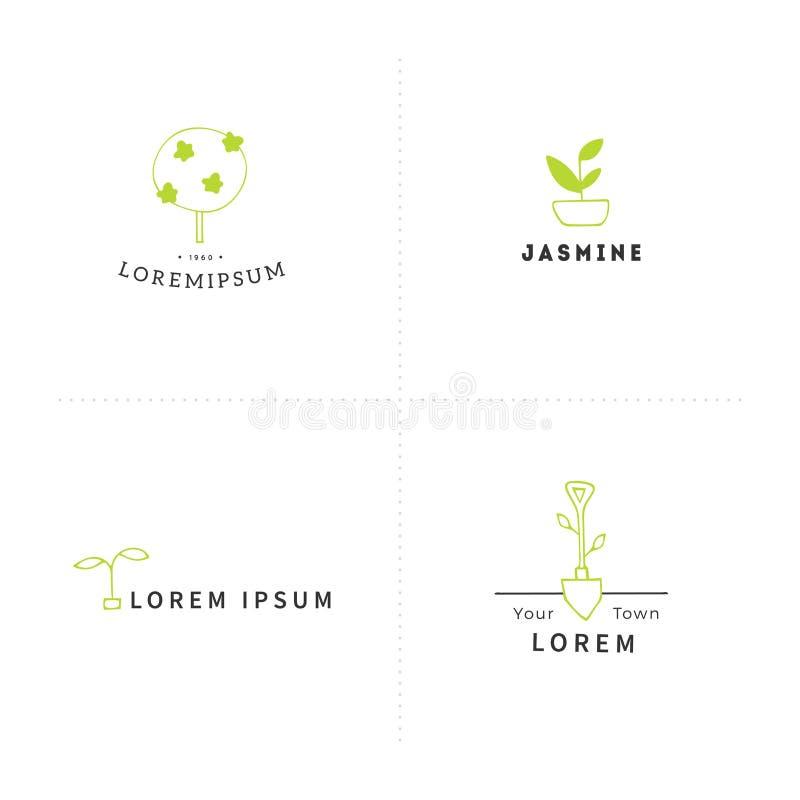 Vektorgarten-Logoschablonen Handgezogene farbige Elemente stock abbildung