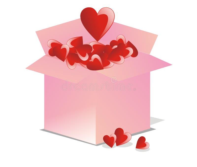 Vektorgeöffneter Kasten voll Liebe vektor abbildung
