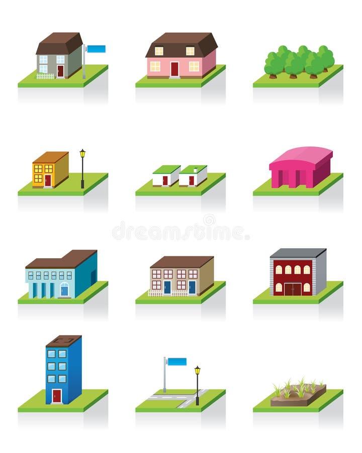 Vektorgebäude-Ikone -- Abbildung 3D lizenzfreie abbildung