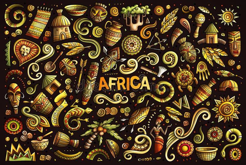 Vektorgekritzel-Karikatursatz Afrika-Gegenstände vektor abbildung
