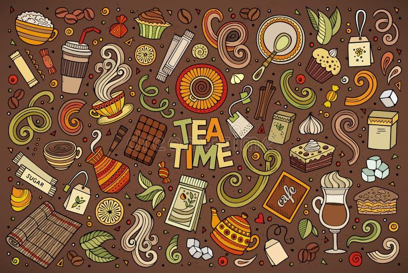 Vektorgekritzel-Karikatursatz Tee und coffe vektor abbildung