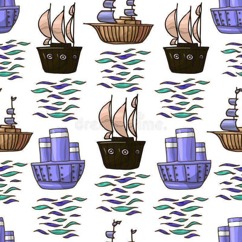 Vektorgekritzel nahtloses Muster der verschiedenen Schiffskinderillustration im brownv und in den blauen Farben lokalisiert auf w stock abbildung